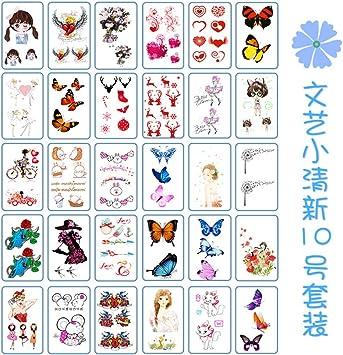 9 piezas impermeable tatuaje pegatina flor tatuaje pegatina color ...