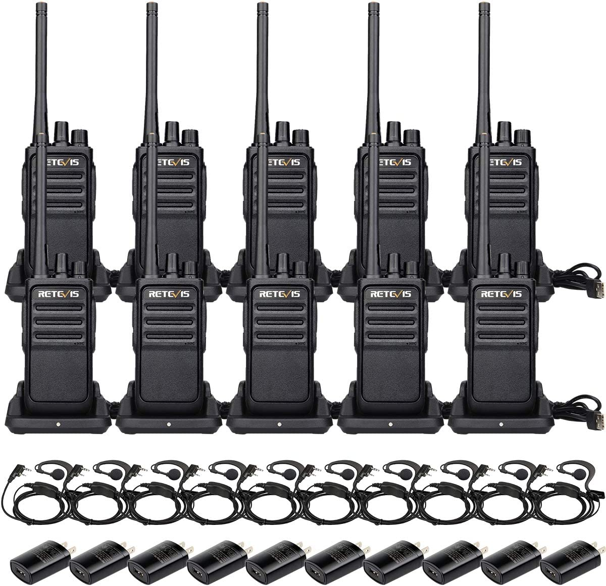 Retevis RT17 Two Way Radios Long Range Rechargeable,Walkie Talkie for Adults,2 Way Radio with Earpiece G Shape,Durable USB Charging,Police School Security Business(10 Pack)