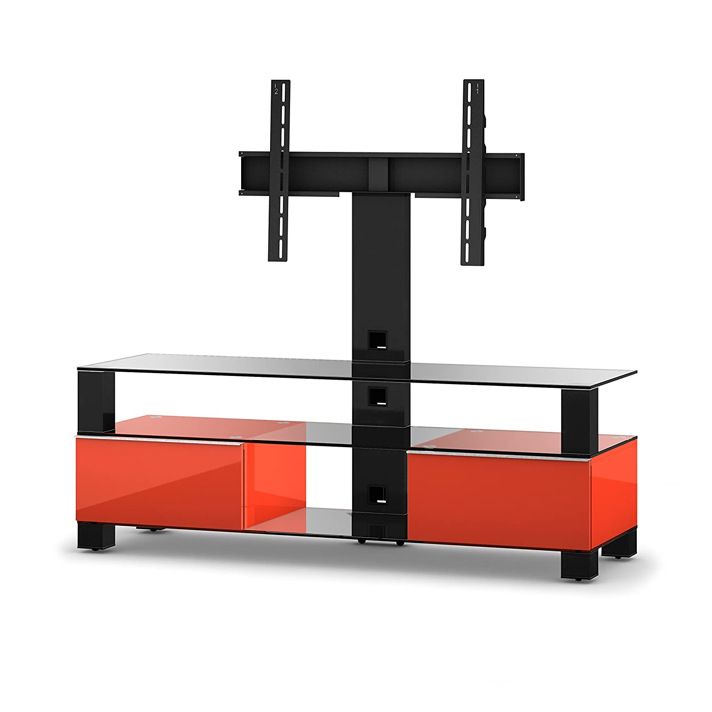 Sonorous MD 8143-C-HBLK-RED Fernseher-Möbel mit Klarglas (Aluminium Hochglanz, Korpus Hochglanzdekor) rot/schwarz