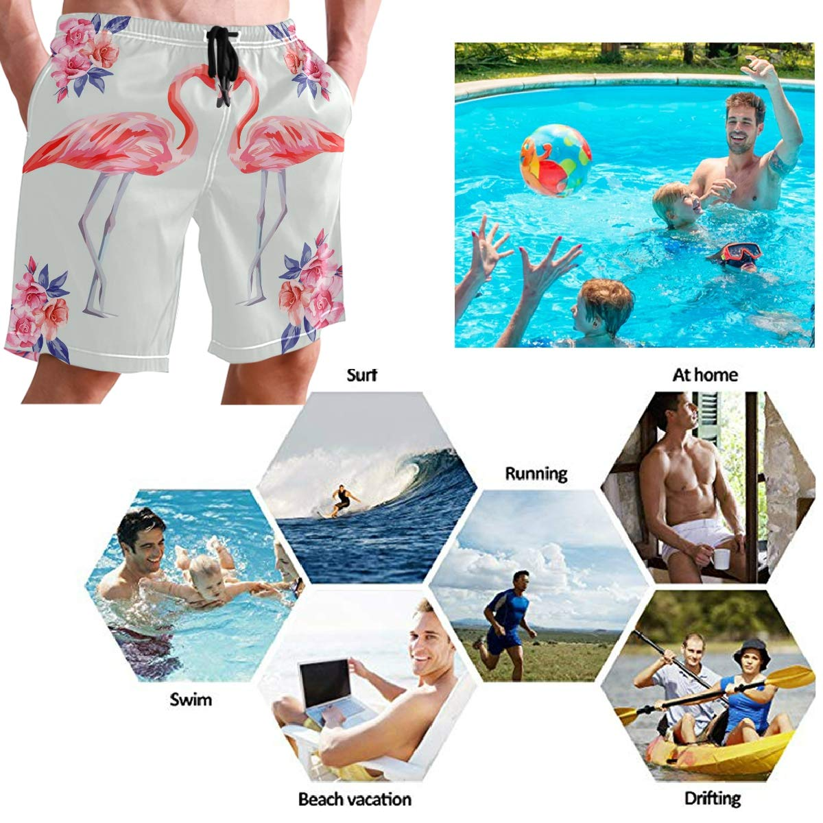 WIHVE Mens Swim Trucks Pink Flamingos Rose Flowers Quick Dry Board Shorts with Lining
