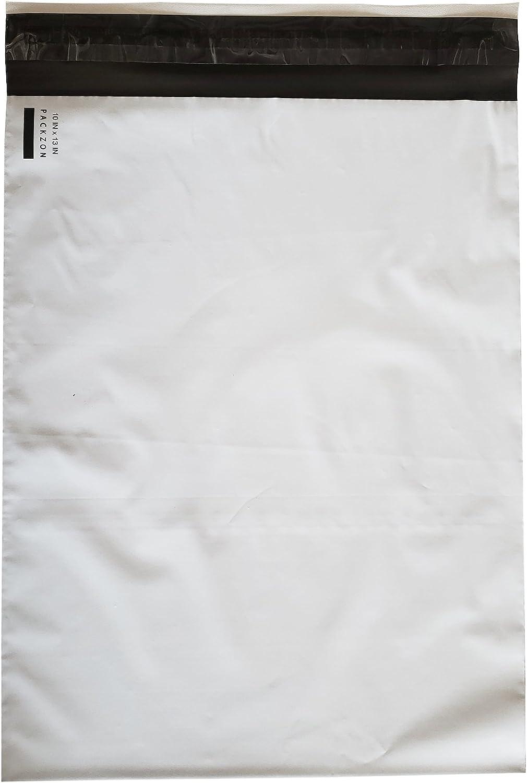 "PACKZON Poly Mailers Shipping Envelopes Bags Self Sealing White 2 mil (10"" x 13"", 100)"