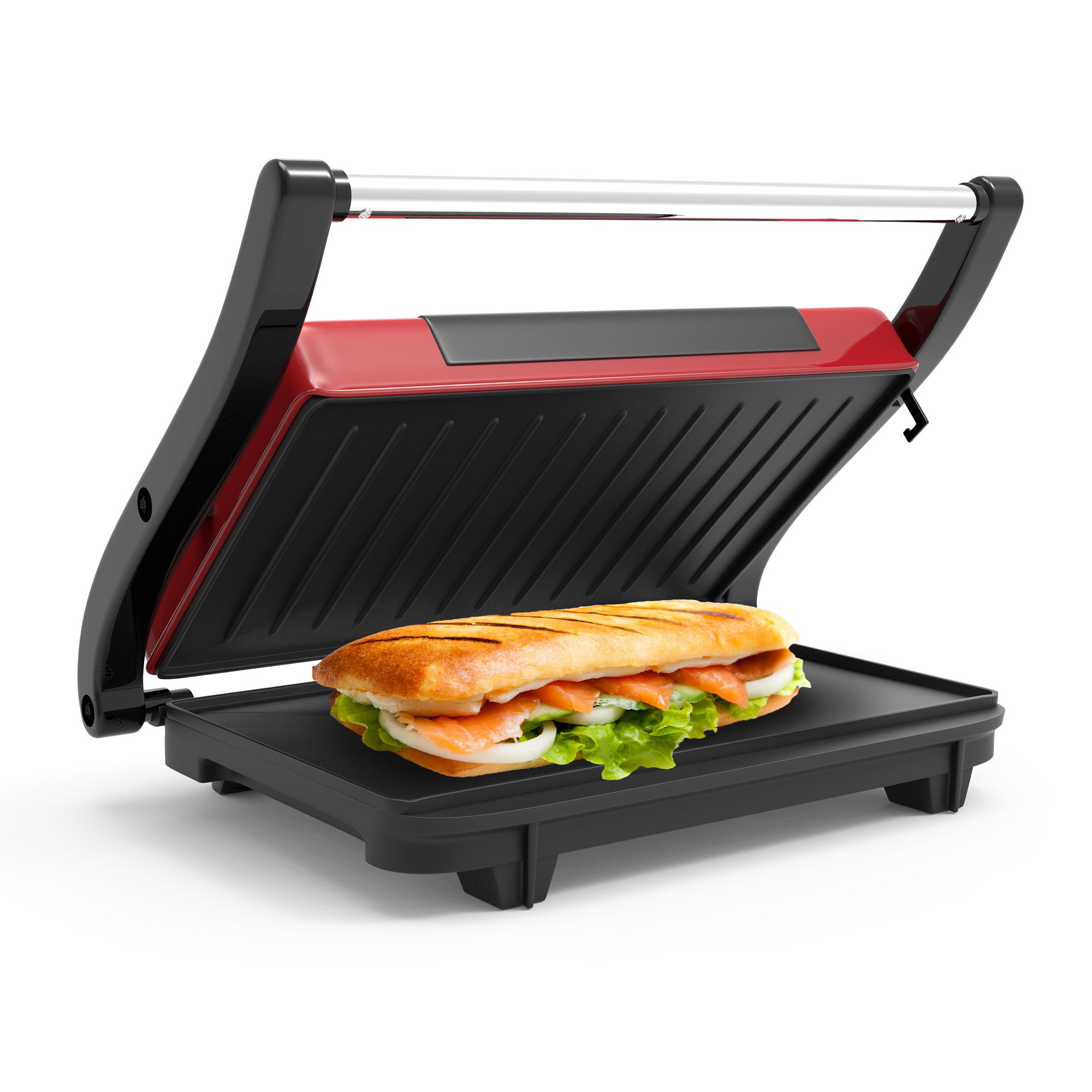 Panini Press Indoor Grill and Gourmet Sandwich Maker With Nonstick Plates (Red) by Chef Buddy by Chef Buddy