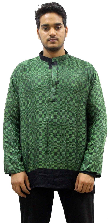 Lakkar Haveli Indian Pashmina Rayon Men/'s Kurta Shirt Handloom Plus Size Loose Fit Greencolor