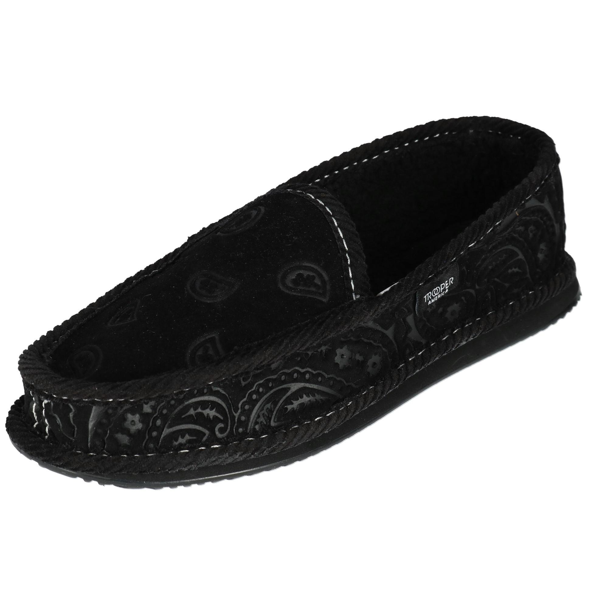 Trooper America Men's Black on Black Paisley Bandana Print House Shoe Slippers