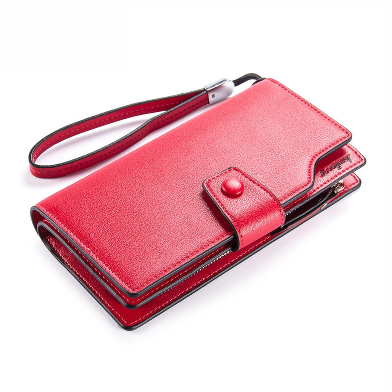 Women's Long Bifold Checkbook Wallet Button Clutch Purse Card Case Holder Red