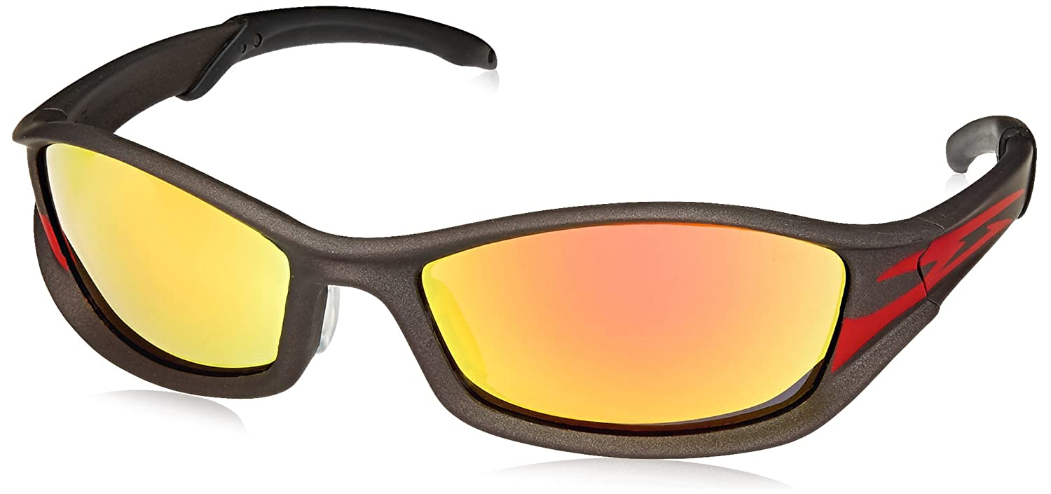 MCR Safety TB12R Tribal Hybrid Temple Design Safety Glasses with Champagne Frame and Fire Mirror Lens rM3wSRUOqa
