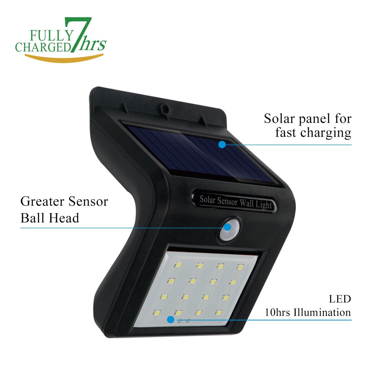 (2 Unidades) Foco Solar de 16 LED, Lámparas Solares con Sensor de Movimiento, Focos para la Pared de Luz Solar, Luces de Exterior Solar para Jardín, ...