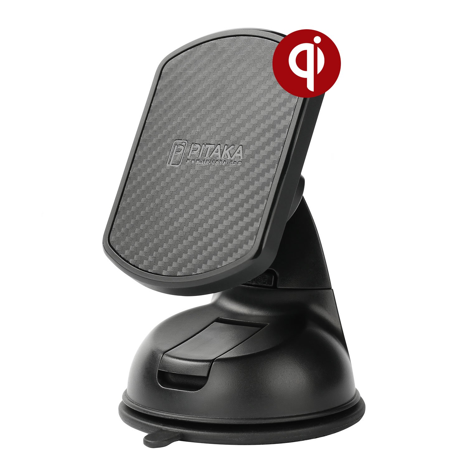 pitaka Magnetic Wireless Charging Windshield Car Mount[Suction Cup Magmount Qi]-Premium Luxury 360 Degree Rotation Fast Charge Suction Cup Phone Holder for Qi Smartphones