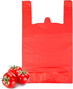 T Shirt Bags, LazyMe Bolsas De Plastico Para Negocio, Grocery Plastic Bags with Handles, Shopping Bags in Bulk Restaurant Bags for Holding Fruits, Vegetables, Grocery, Takeaways, Snacks (12 x 20 inches, Red 100 Pcs)