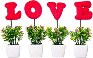 VERGOODR Love Artificial Plants Flowers Sculpted Letters Set of 4,Love Letters Tabletop Decoration Faux Hedge Letters with White Ceramic Pots,Gift for Valentine's Day,Wedding,Home (Roseredsquare)