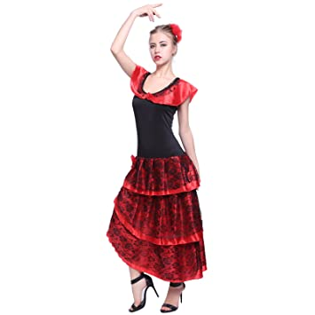 1a3a38363 Adult Ladies Spanish Senorita Rumba Salsa Flamenco Dancer National Dress  Party Mexican Latin Fancy Dress Costume S: Amazon.co.uk: Toys & Games
