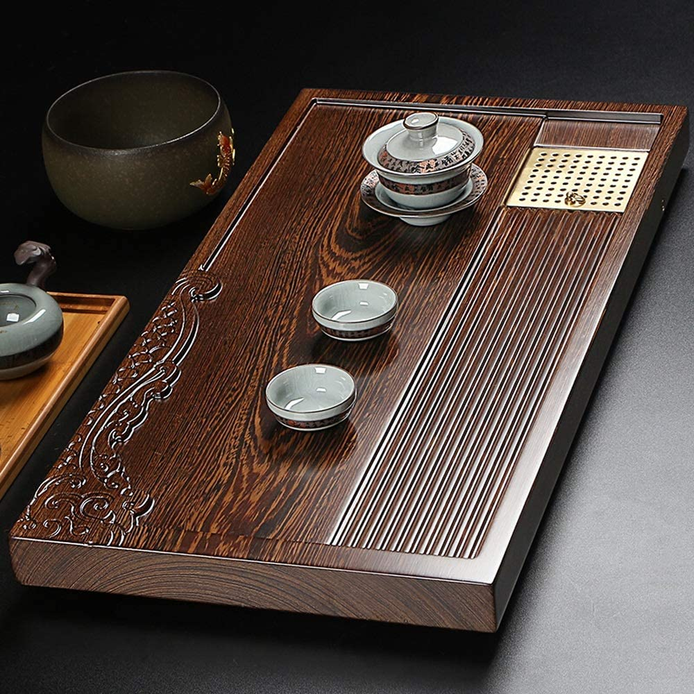 トレイ レトロなカービングと長方形中国茶トレイ竹サービングプレートホームオフィスGongfuティートレイサービングプレート キッチンティーハウスコーヒーショップ (色 : Natural, サイズ : 70x35cm)