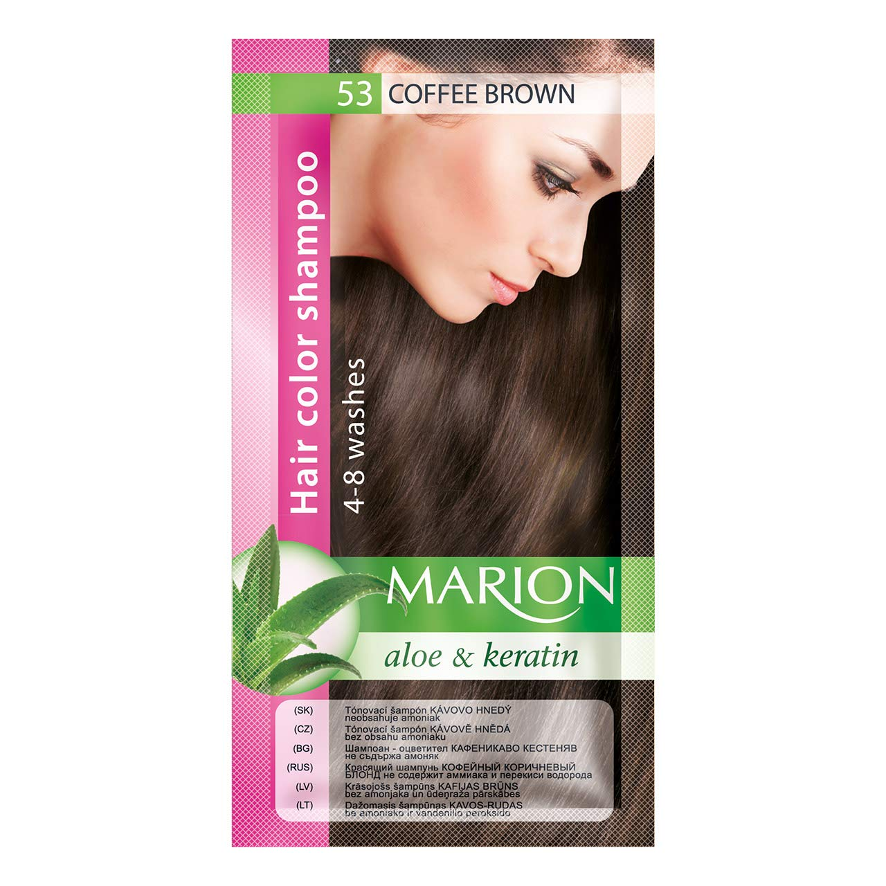 Marion Hair Color Shampoo in Sachet Lasting 4-8 Washes - 53 – Coffee Brown