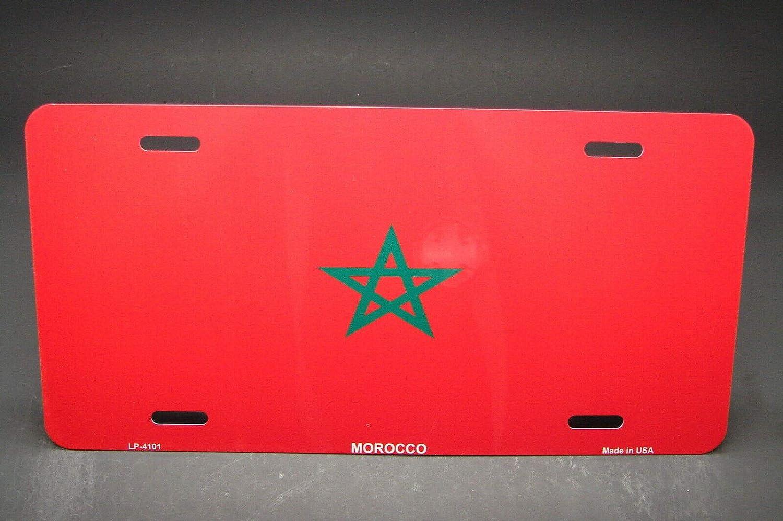 dise/ño de Bandera de Marruecos Placa de Aluminio para matr/ícula de Coche 15,2 x 30,5 cm MNUT