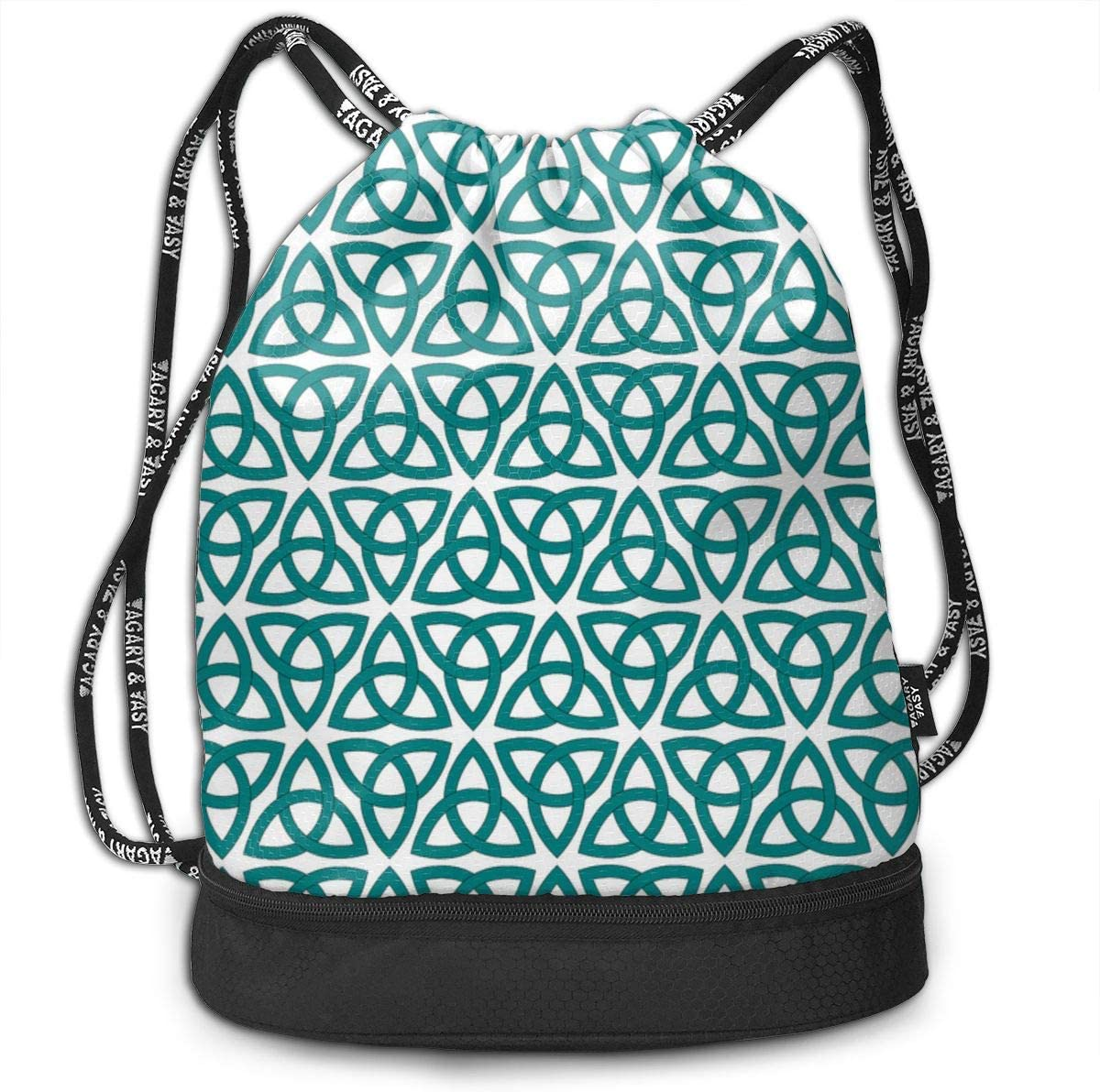 Tessellated Knots Drawstring Backpack Sports Athletic Gym Cinch Sack String Storage Bags for Hiking Travel Beach