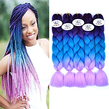 Amazon Com Msbelle 5 Pcs Synthetic Braiding Hair Extensions Kanekalon Fiber Ombre Jumbo Braids Hair Bundles For Women 100g Pcs 24 Inch 60cm Purple Lake Blue Light Purple Beauty