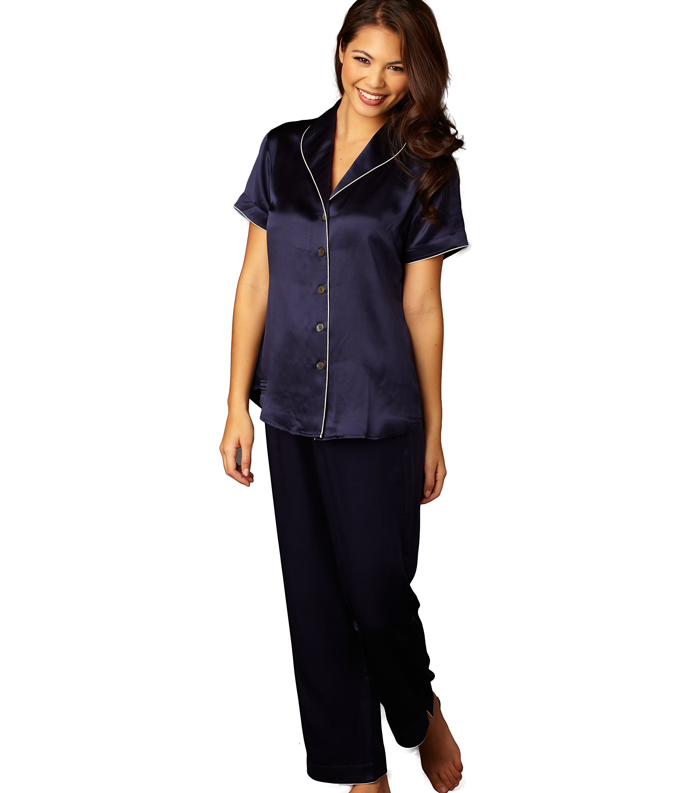 Julianna Rae Amelie Women's 100% Silk Pajama, Indigo, XL