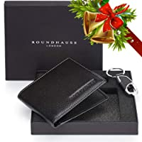 Roundhause Black Designer Slim Bi fold Mens Wallet Real Leather Credit Card Holder Organiser Paper Money Purse and Leather Key Holder Gift Box Set (Black) Present For Gents