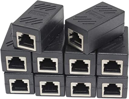 10-Pack Ethernet Network Cable Extender Female to Female Cat7//Cat6//Cat5e Straight Modular Inline Connector RJ45 Coupler