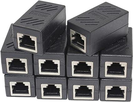 100 Pieces RJ45 Inline Coupler Female-Female Cat5e Wire Ethernet Adapte