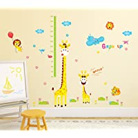Amazon Brand - Solimo Wall Sticker for Kids' Room (Grow up with Giraffe, Ideal Size on Wall: 190 cm x 194 cm)