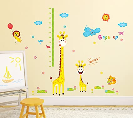 Amazon Brand - Solimo Wall Sticker for Kids Room (Grow up with Giraffe, Ideal Size on Wall: 190 cm x 194 cm)