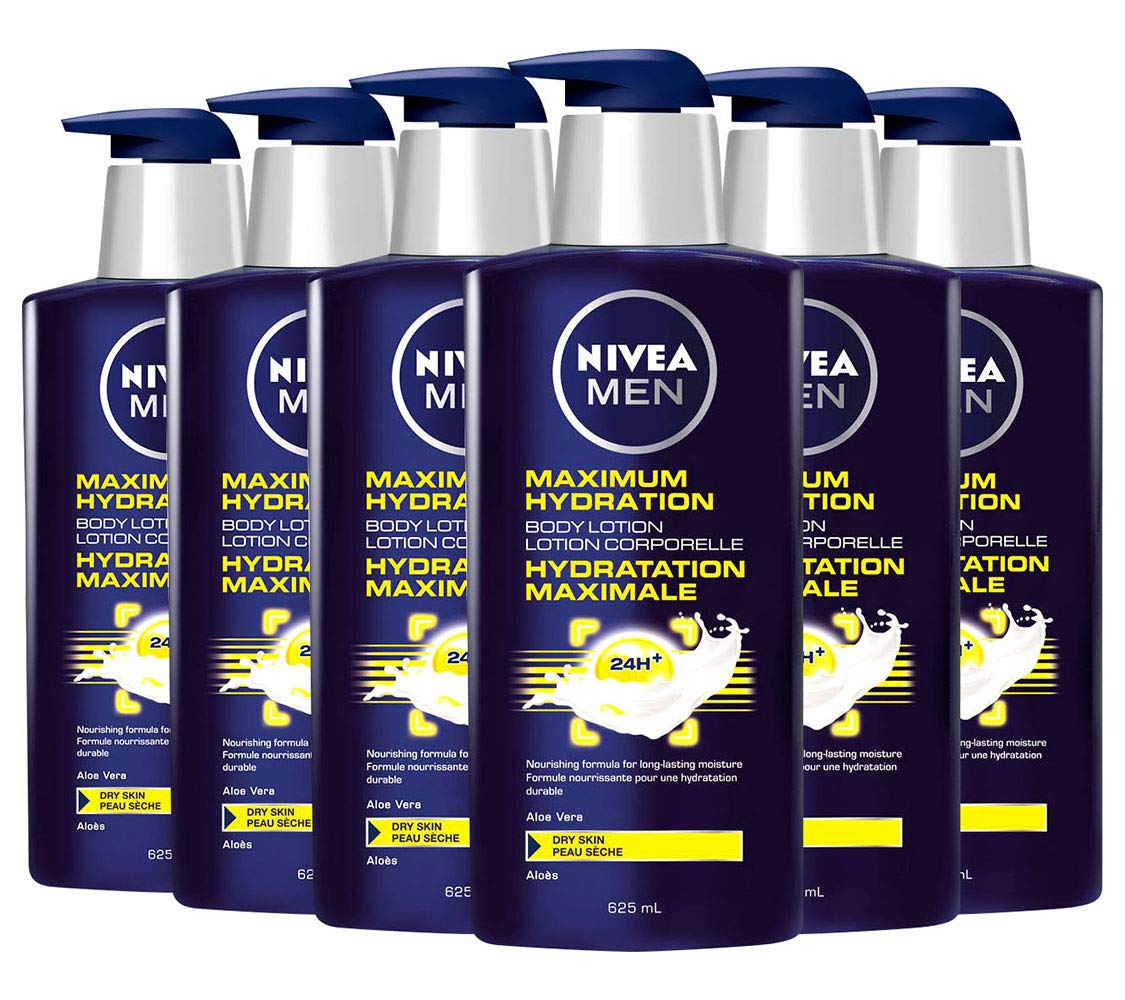 Nivea Men Body Lotion Moisturizer, Maximum Hydration 3-in-1 Nourishing Lotion Pump Bottle, For Use On Body, Hands, And Face, 21 Ounces (Pack Of 6)