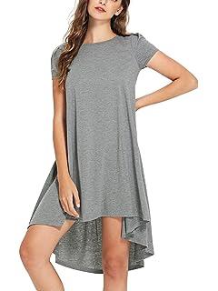 b4c7eb2c1660 Romwe Women's Loose Casual Short Sleeve High Low Hem Swing T-Shirt Tunic  Dress
