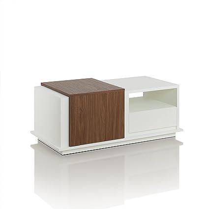Furniture Of America Trenton Sliding Panel Coffee Table Contemporary Style    White/Walnut