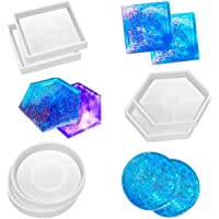 SunBeter 6 Pack DIY Coaster Silicone Mould Epoxy Casting Molds, Include Round, Square, Hexagon for Casting with Resin…