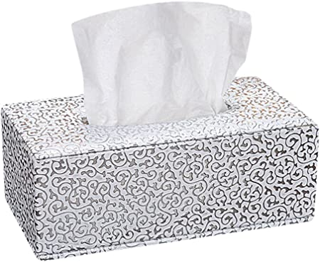 Hosaire 1X Caja de pañuelos faciales,Caja de Rectángulo Cuero Cuadrada Caja de Papel servilleta con decoración casera para hoteles,Accesorio de baño Size 25.5 * 14 * 9.5cm (Plata): Amazon.es: Hogar