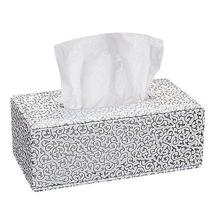 JUNGEN Piel tejido caja de pañuelos de decoración para hogar oficina y coche, Blanco,