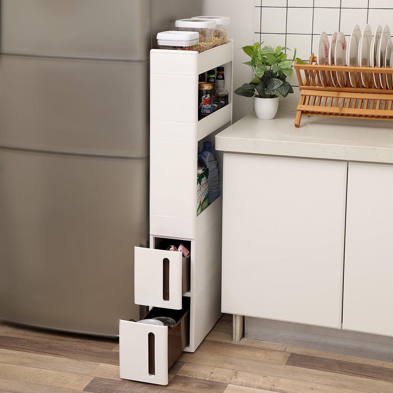 SONGMICS Carrito de cocina con ruedas Estantería multiusa con 3 estantes y 2 cajones Carrito estrecho para Baño Cocina Dormitorio 17 cm de ancho KFR06WT: ...