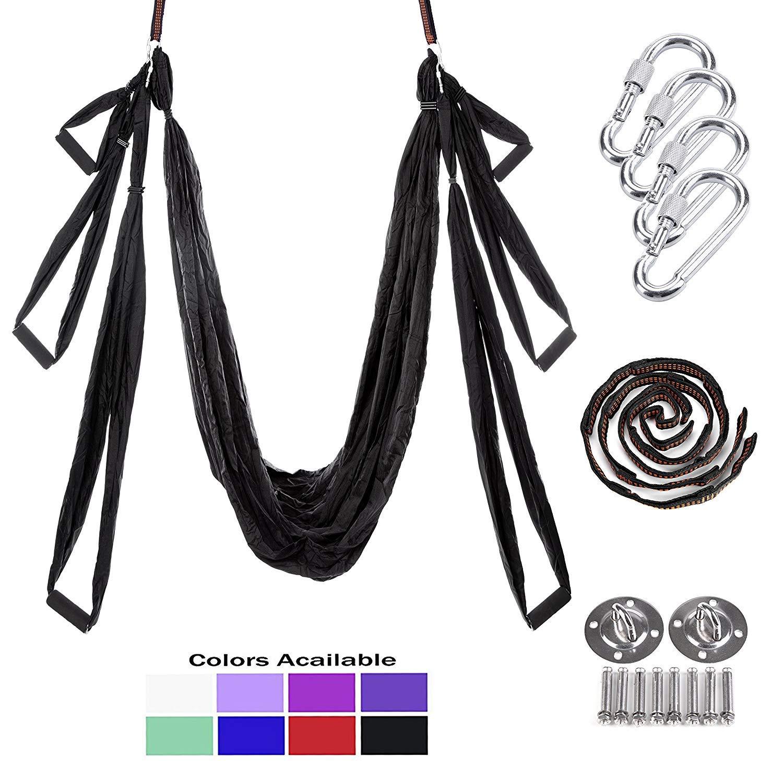 PUER Yoga-Schaukel – Yoga-Trapeze – Yoga-Hängematte – Yoga Trapeze Ständer – Antenne Yoga Hängematte – Yoga Sling Inversion   Kit – inkl. 2 Verlängerungsgurte
