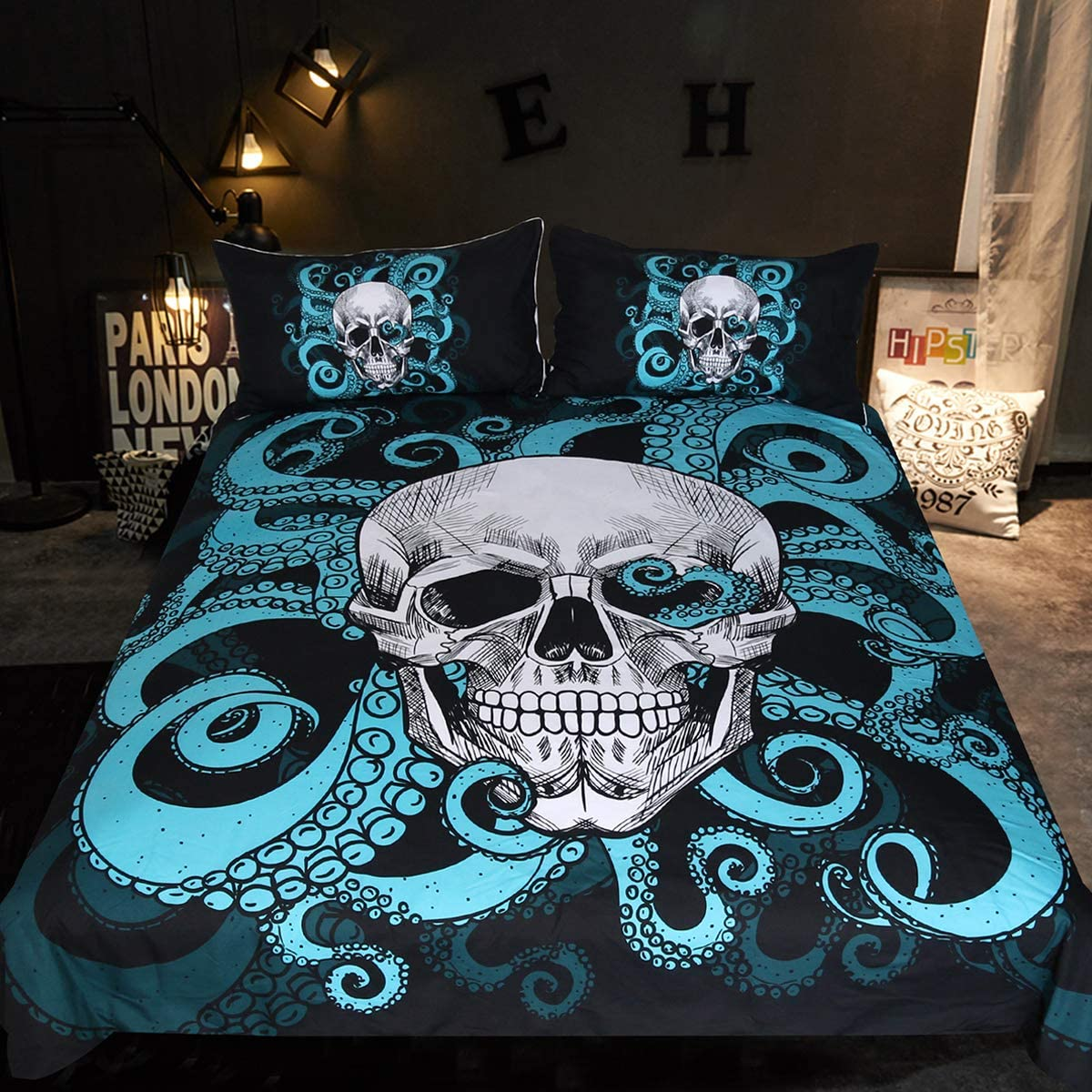 Sleepwish Octopus Tentacle Skull Bedding Under The Sea Skull And Tentacles Of The Octopus Duvet Cover Set 3 Piece Blue And Black Bed Cover For Kids Boys Queen Home Kitchen