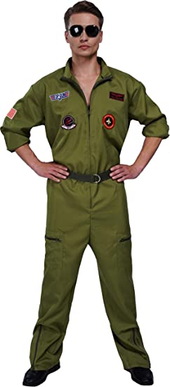 Jet Pilot Mens Fancy Dress Army Air Force Military Uniform Adults Costume New