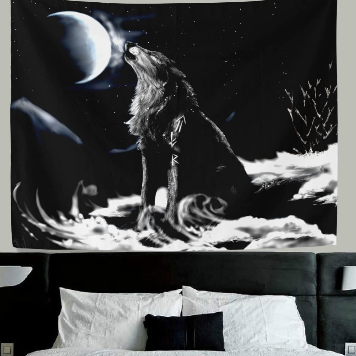 HWMR Howling Wolf Tapestry Wall Hanging Black Wolf White Moon Home Decor Collage Dorm Beach Throw Tapestries 60×51 Inch