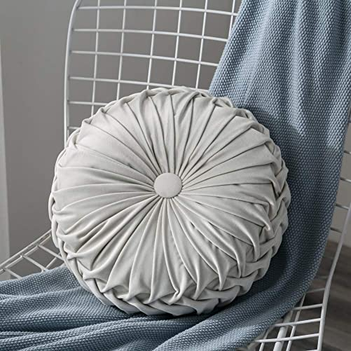 Anpay Velvet Pleated Round Pumpkin Throw Pillow Couch Cushion Floor Pillow Decorative for Home Sofa Chair Bed Car