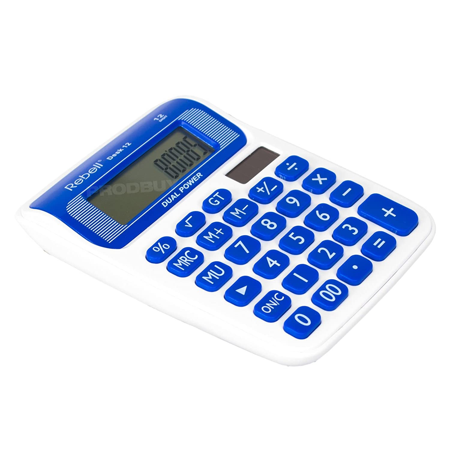 Rebell 12 Digit Dual Power Calculator Blue /& White Desk Desktop Office Small