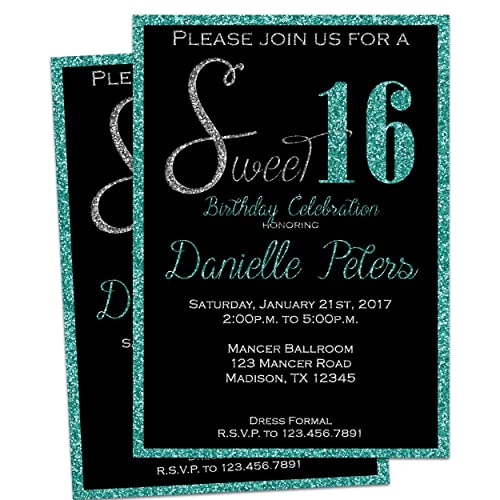 Turquoise Glitter Sweet 16 Invitations Trendy Glitz Black