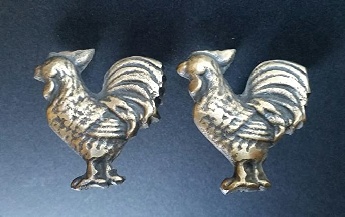Solid Bronze Rooster Farmer Cufflinks