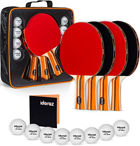 Idoraz Ping Pong Paddles Set of 4 – Table Tennis Set – Ping Pong Paddle Set – Ping Pong Paddles and Balls