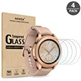 (4-Pack) Samsung Galaxy Watch (42mm) Screen Protector, Akwox [Tempered Glass] [Explosion-Proof] [0.3mm/2.5D] Screen Protector for Samsung Galaxy Watch (42mm) / Gear S2