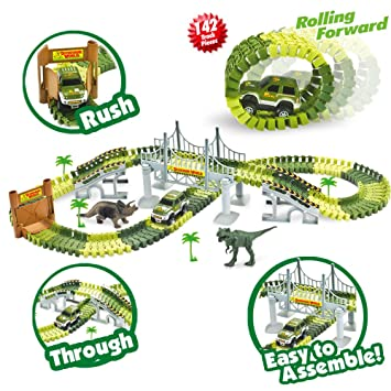 race car track toy with 142 pieces flexible tracks set military vehicles and drawbridge dinosaur