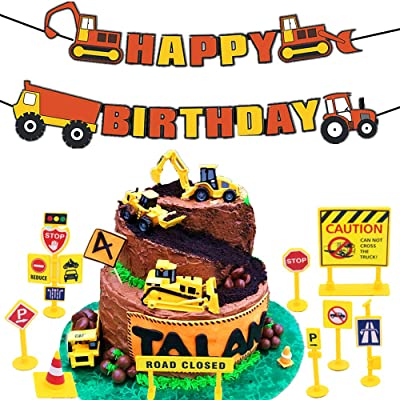 16 PCS JeVenis Construction Truck Birthday Cake Decoration with Construction Zoo Happy Birthday Banner Truck Forklift Bulldozer Road Roller Excavator Dump Truck Tractor for Children Birthday Party Sup: Toys & Games