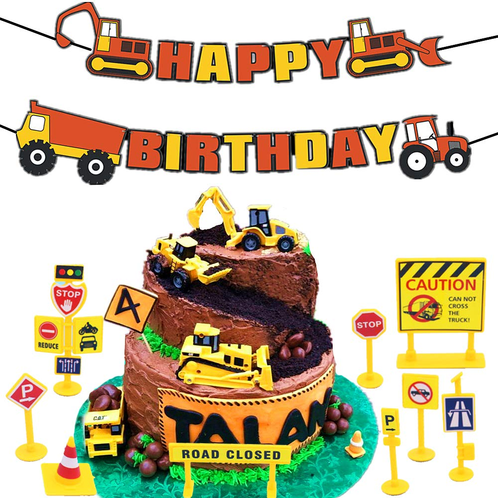 Amazon Com 16 Pcs Jevenis Construction Truck Birthday Cake