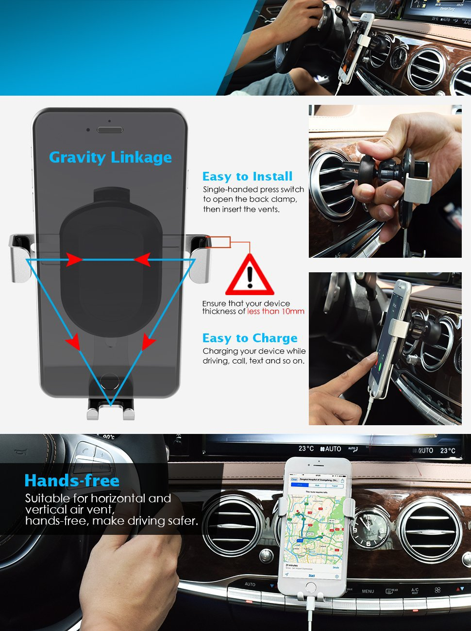 (UPGRADED VERSION) LENPOW Car Phone Mount Holder Universal Gravity Car Air Vent Phone cradle Stand Auto Lock and Release, 360°Rotate for iPhone X 8 7 6s 6 Plus Samsung Galaxy s8 plus S6 S5 up to 6.2\