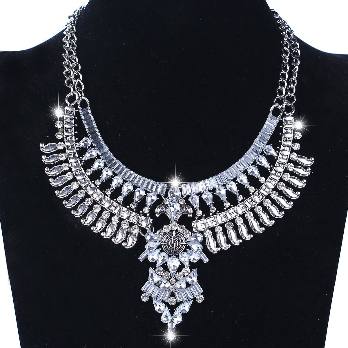 Santfe Vintage Silver Gold Long Boho Statement Necklace Trendy Bohemian Turkish for Women Accessories Jewelry (Silver-8)