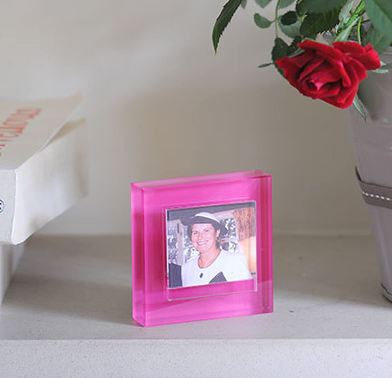Spaceform Small Block Colour Glass Photo Frame - Fuschia: Amazon.co ...