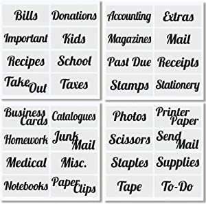 mDesign Office Labels for Desks, Plastic Bins, Boxes, Drawers, Home Office, Item Storage Organization, 4 Pre-Printed Sheets - Black, 32 Count